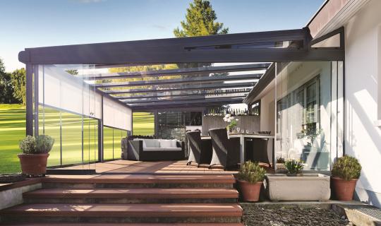 Terrassenüberdachung, Lamellendach, Sonnenschutz, Pergola